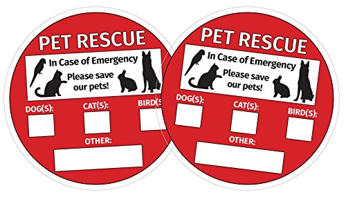 Pet Rescue Inside Window Stickers (2 PACK)/Vinyl Static Cling Decals - Easy to Remove and Reposition - 5 in. x 5 in.