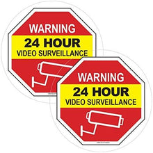 "Load image into Gallery viewer, Video Surveillance Window Cling Sticker - Video Surveillance Sticker/Decal - Security Decals for Home - Under Surveillance Sticker - Inside Window Decal for Home & Business - 5"" x 5"""