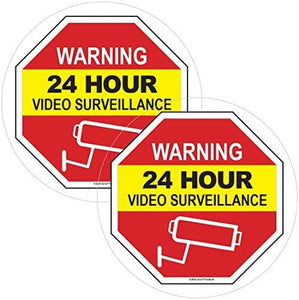 "Video Surveillance Window Cling Sticker - Video Surveillance Sticker/Decal - Security Decals for Home - Under Surveillance Sticker - Inside Window Decal for Home & Business - 5"" x 5"""