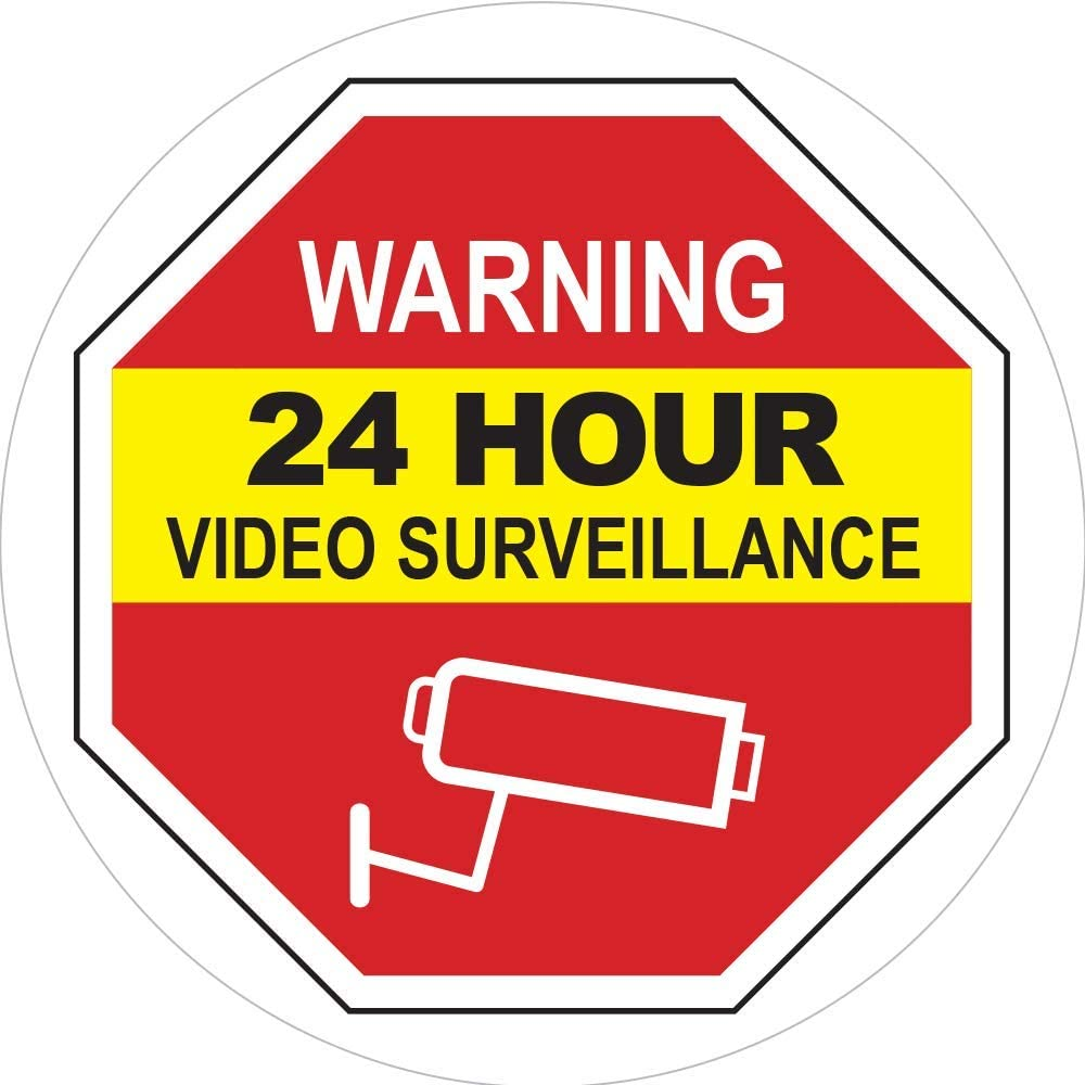 Video Surveillance Window Cling Sticker - Video Surveillance Sticker/Decal - Security Decals for Home - Under Surveillance Sticker - Inside Window Decal for Home & Business - 5