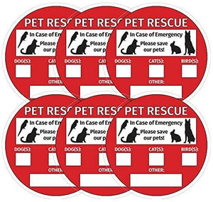 Save Our Pets Sign - Emergency Pet Rescue - Inside Window Static Cling Decal - Easy to Remove and Reposition - 5 x 5 in.
