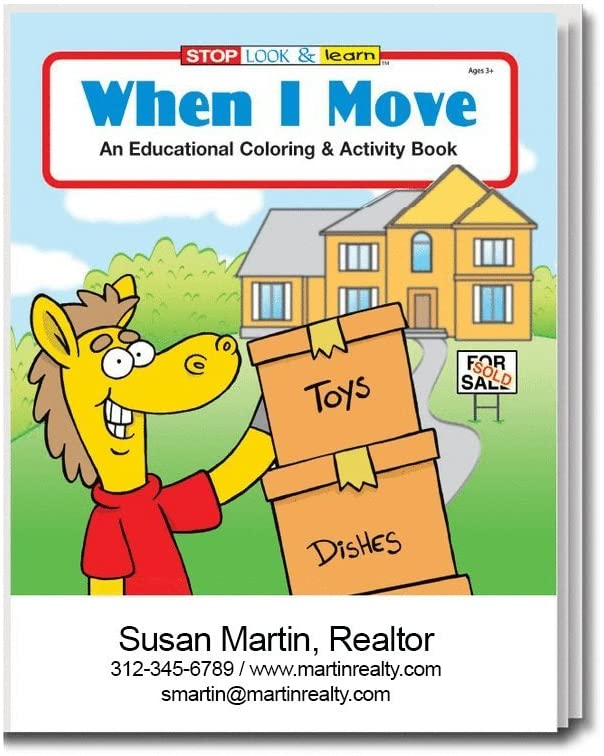 When I Move - Kid's Coloring & Activity Books in Bulk (Quantity of 250) - Customize with Your Information - Realtor Promotional Item