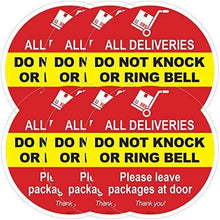 Load image into Gallery viewer, ZOCO Please Do Not Knock or Ring The Bell Decal | Leave Package at Door Sign | Warning Sticker | Home Decor | Vinyl Static Cling Decal | Do Not Ring or Knock Sign |Inside Outside Removable | 6 inch.