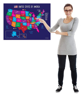 USA Map with State Capitals Educational Classroom Poster - 17x22 - Laminated - ZoCo Products