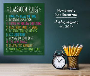 Classroom Rules Poster - 17x22 - Laminated - ZoCo Products
