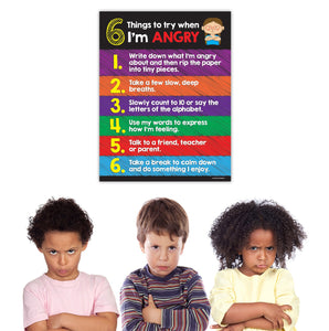 "Kids Anger Management Poster - 17""x22"" - Laminated"