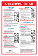 Load image into Gallery viewer, CPR & Choking First Aid Instructions Poster - Infant, Child, and Adult - Laminated