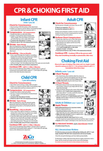 CPR & Choking First Aid Instructions Poster - Infant, Child, and Adult - Laminated