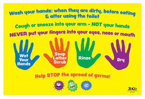 "Hand Washing Instructions for Kids - 12""x18"" - Laminated"