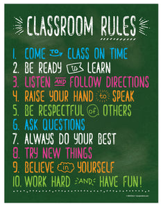 "Classroom Rules Poster - 17""x22"" - Laminated"
