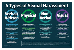 "4 Types of Sexual Harassment Workplace Poster - 12""x18"" - Laminated"