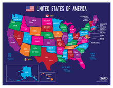 "Load image into Gallery viewer, USA Map with State Capitals Educational Classroom Poster - 17""x22"" - Laminated"