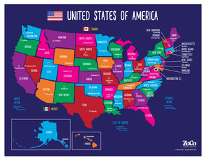 "USA Map with State Capitals Educational Classroom Poster - 17""x22"" - Laminated"