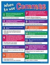 "Load image into Gallery viewer, When to Use Commas - Language Arts Poster - 17""x22"" - Laminated"
