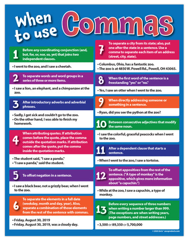 When to Use Commas - Language Arts Poster - 17