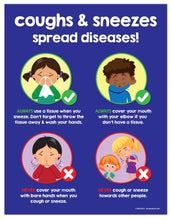 Load image into Gallery viewer, Coughs and Sneezes Spread Diseases Poster - 17x22 - Laminated