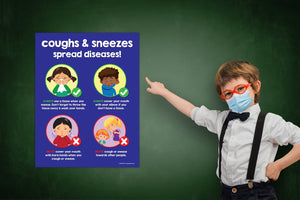 Coughs and Sneezes Spread Diseases Poster - 17x22 - Laminated
