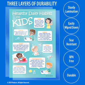 Kids 7 Healthy Habits Poster - 12 x 18 in. - Laminated