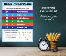 Load image into Gallery viewer, Order of Operations Classroom Math Poster - 17x22 - Laminated - ZoCo Products