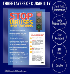 Stop Viruses from Spreading Poster - 12x18 - Laminated