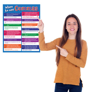 "When to Use Commas - Language Arts Poster - 17""x22"" - Laminated"