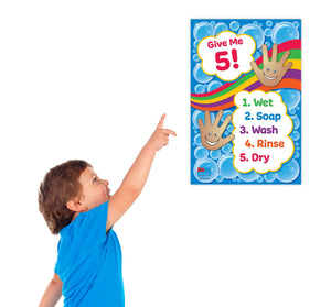 "Give Me 5! Hand Washing for Kids Poster - 12""x18"" - Laminated"