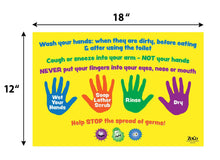 "Load image into Gallery viewer, Hand Washing Instructions for Kids - 12""x18"" - Laminated"