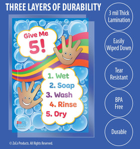 Give Me 5! Hand Washing for Kids Poster - 12x18 - Laminated - ZoCo Products