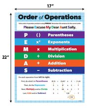 "Load image into Gallery viewer, Order of Operations Classroom Math Poster - 17""x22"" - Laminated"