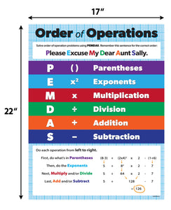 "Order of Operations Classroom Math Poster - 17""x22"" - Laminated"
