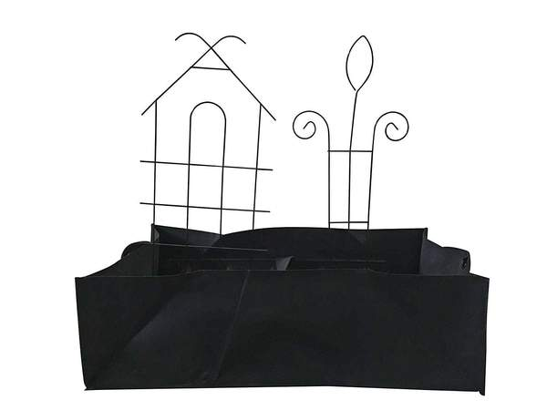 Rectangular Growbag 27.5''Lx15.7''Wx7.8''H with Iron House Trellis Kit Black