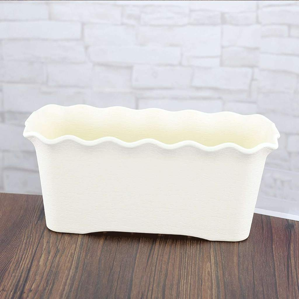 Plant Pot Rectangle Resin Flower Pot, Plastic Planter, 16''x6.3''