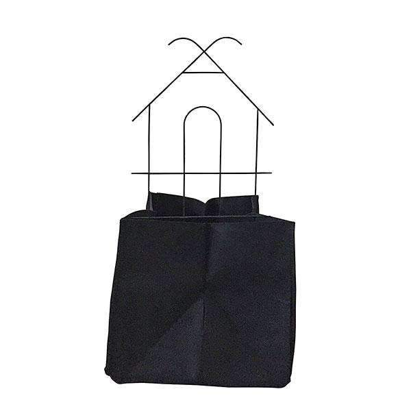 A Square Growbag with A Iron House Trellis Kit Black