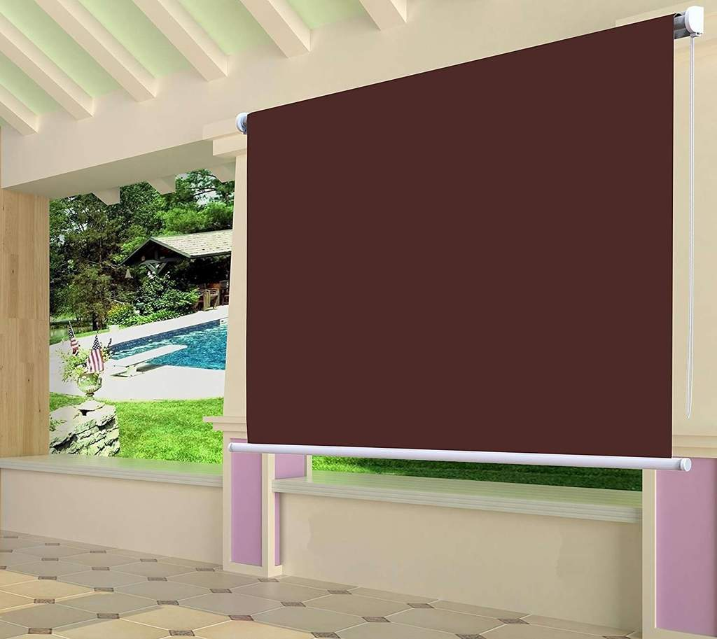 Waterproof Exterior Manual Roller Shade Wine Red