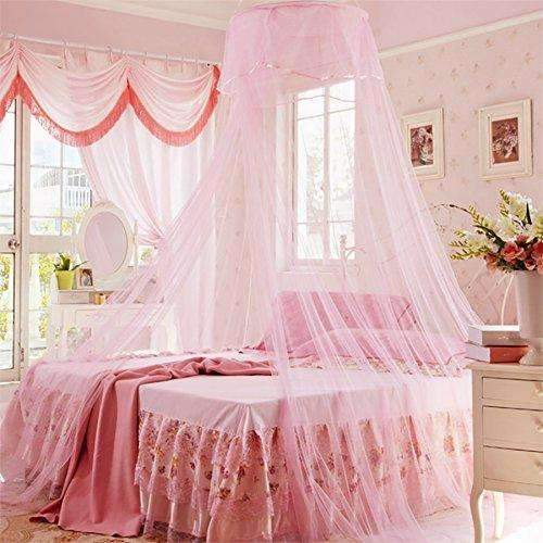 Bed Netting Pink Round Top 3 layer Mosquito Net