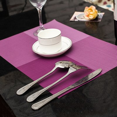 Mr. Garden Indoor/Outdoor Woven Vinyl Placemats, Rectangular,Set of 2 (Purple)