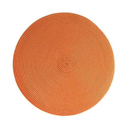 Home Cal Non-Toxic Placemat and Lint Free Environmental Circular PP Woven Table mats Set of 4,?Light Orange,15.5""
