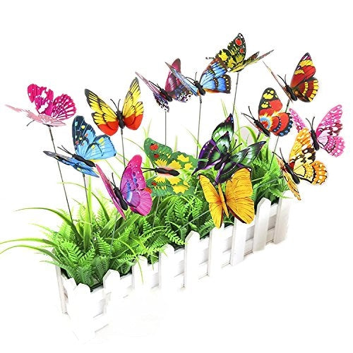 Artificial Butterflies on Sticks, 25Pack
