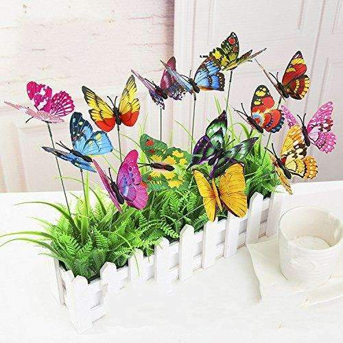 Garden Artificial Butterflies on Sticks Flower Plant Pots, 25 Packs