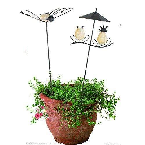 Garden Artificial Frog and Butterfly Couple Stakes/Trellis on Plants , 20''H 2pack