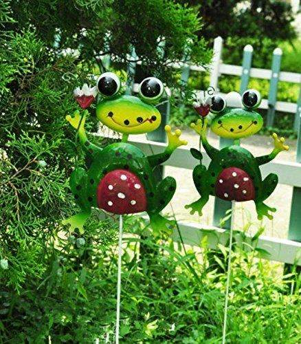 Garden Pastoral Style Frog Stakes/Trellis on Plants Pots, 23.6''H x 5''W