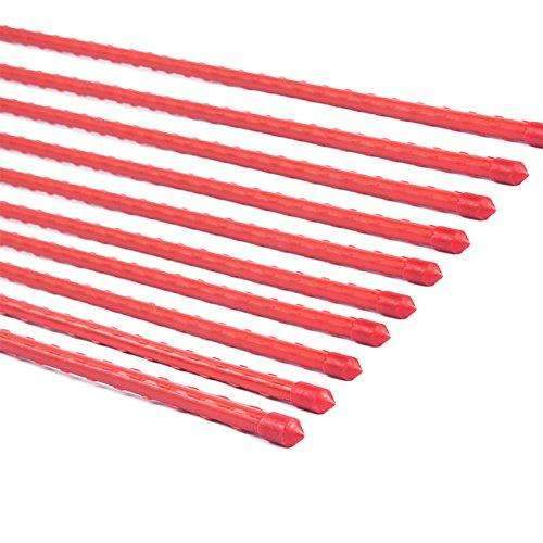 Red Plastic Coated Steel Tube Stakes, Diameter 8MM x Height 0.9M