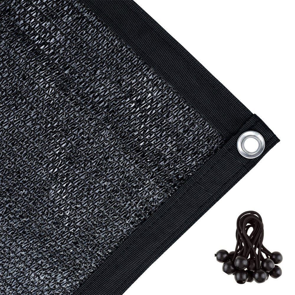 70% Sunblock Shade Cloth with Grommets 10*20ft, Black