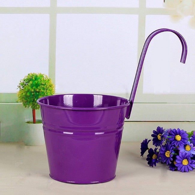 6 Inch Balcony Hanging Pots Iron Bucket Holders, 3 Packs