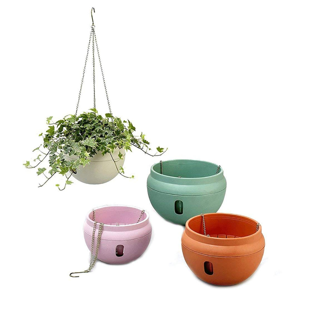 Hanging Planter, 9.5'' Diameter and 7'' High, Multi Colors Included (Brick Red)