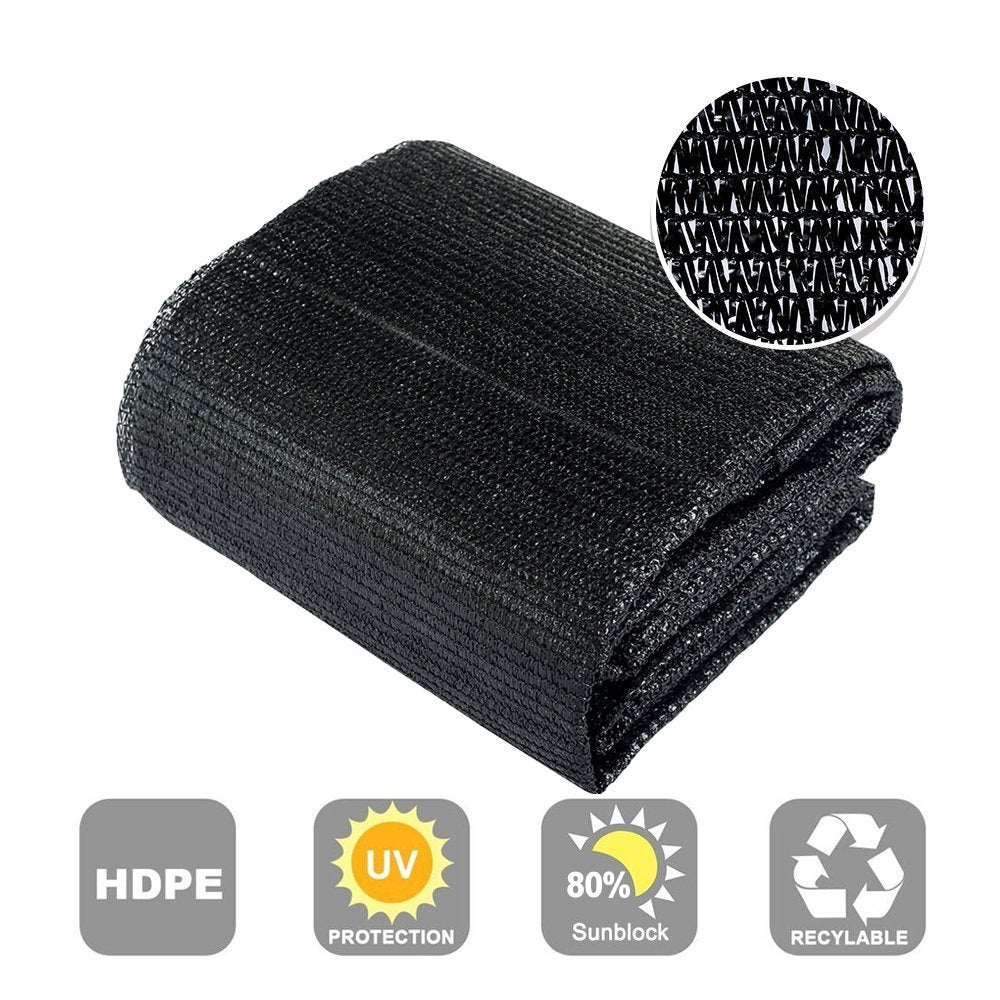 80% Sunblock Shade Cloth Cover with Clips for Plants 6.5¡¯ X 10¡¯, Black