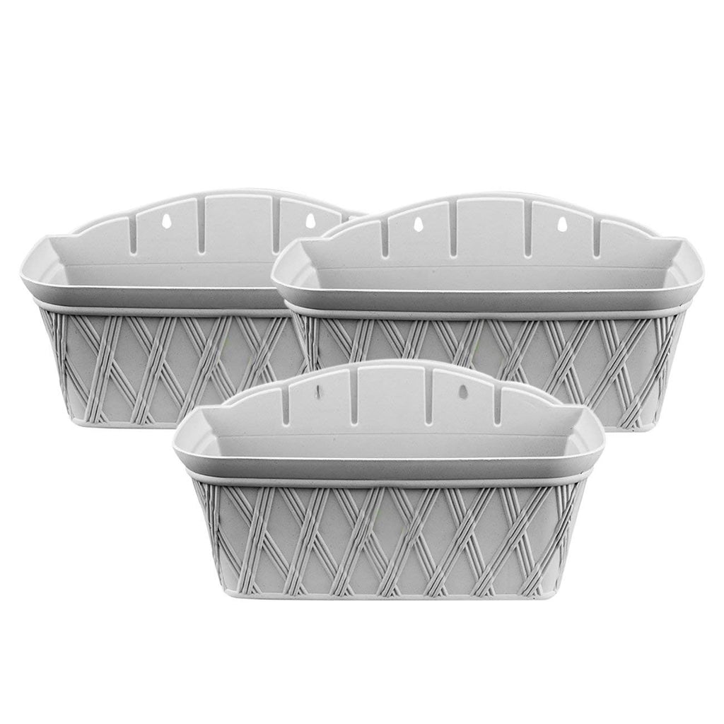 17 Inch Rectangular Plastic Planter, Light Grey, 3Pack