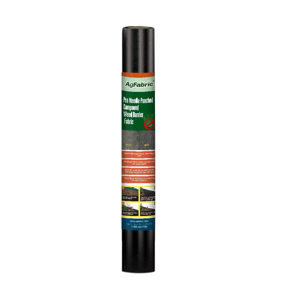 Pro 5oz Weed Barrier Landscape Fabric, 6x12ft (6 Pins Included)