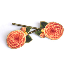 BP5029  Coral Rose Bobby Pins