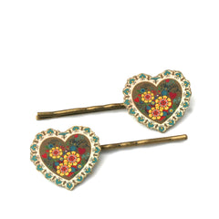 BP5035  Deco Heart Bobby Pins
